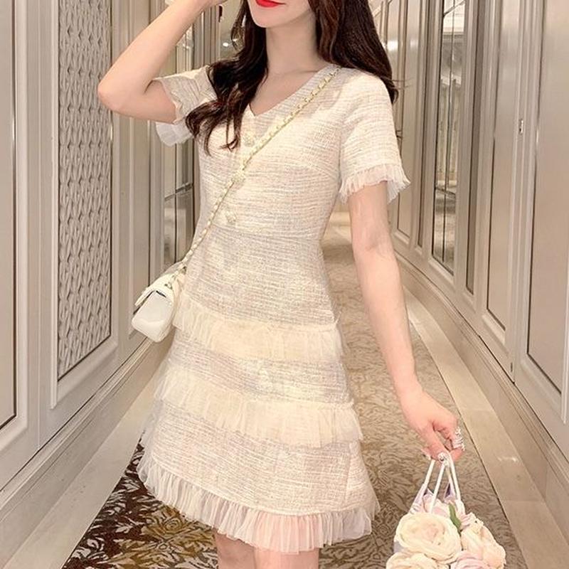 Milk tweed frill dress(No.300648)