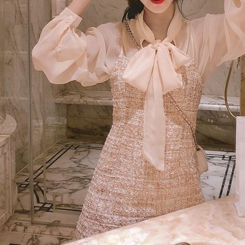 一部即納♡pink blouse & tweed OP(No.300485)
