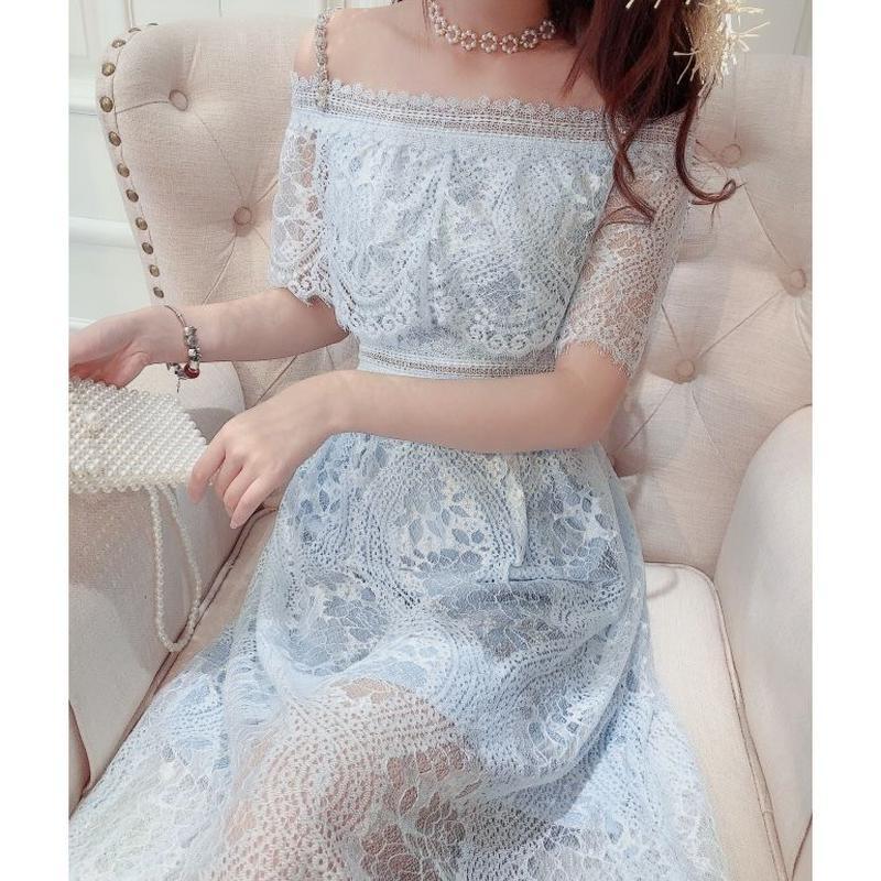 Bijjou shoulder sensual long dress(No.300683)