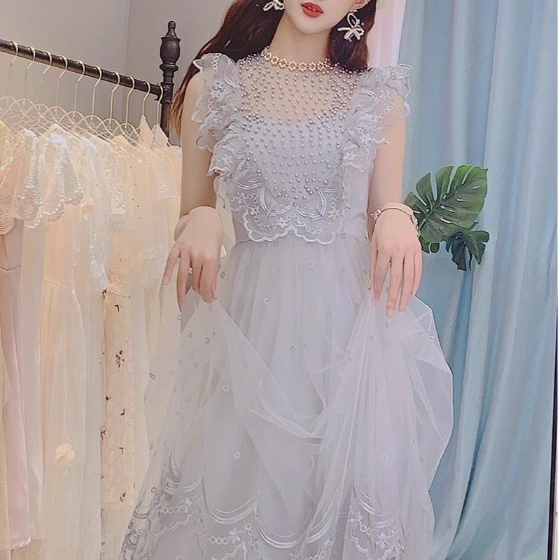 Angel petite frill tulle long dress(No.300696)