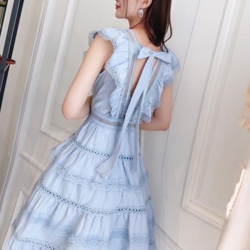 Back ribbon frill dress(No.300640)