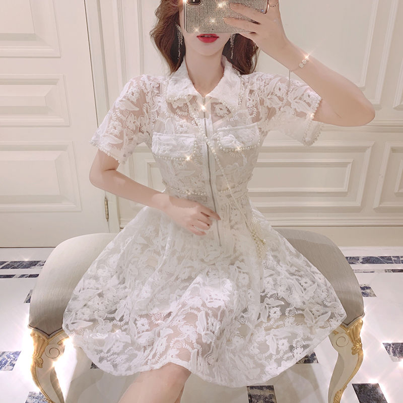 Classical lacy pearl dress(No.300685)