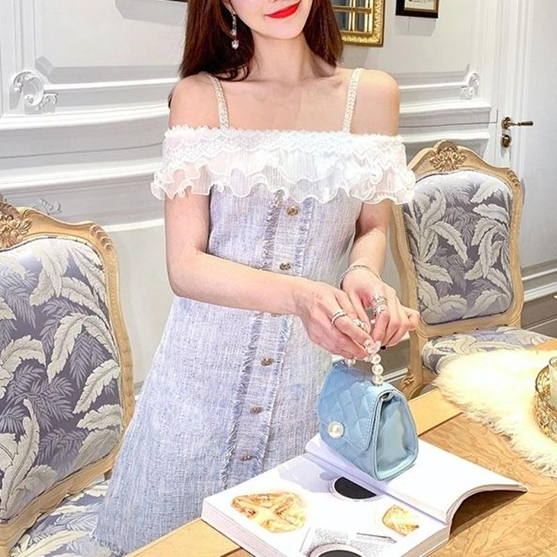 Fairy blue tweed dress(No.300664)