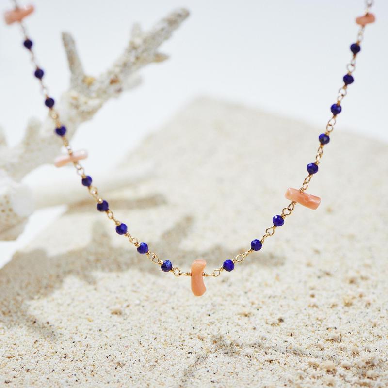 ラピスラズリと深海珊瑚のシャンク巻きネックレス【60㎝】