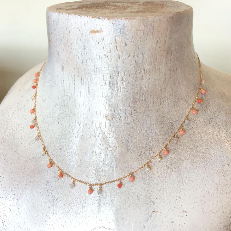 つぶつぶ染珊瑚ネックレス