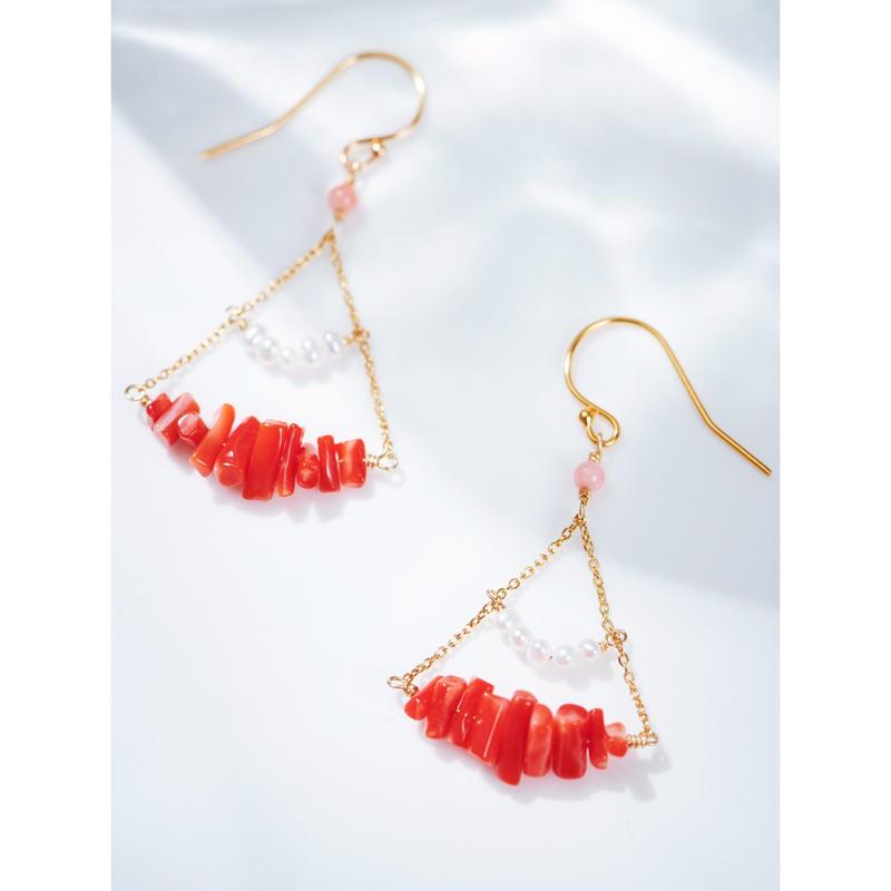 赤珊瑚と淡水パールのシャンデリアピアス