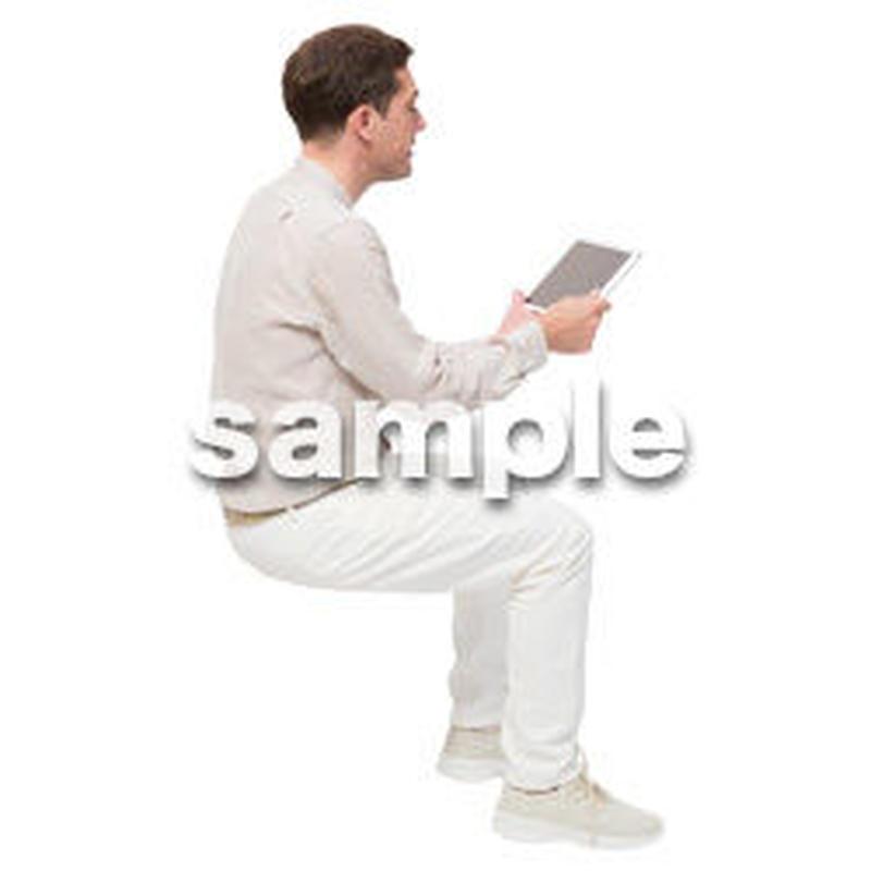 Cutout People 座る 外国人男性 LL_599
