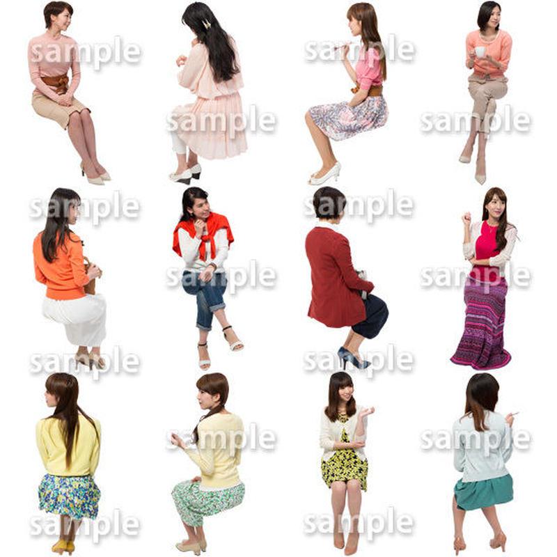 人物切抜きセット☆座る女性 1_set169