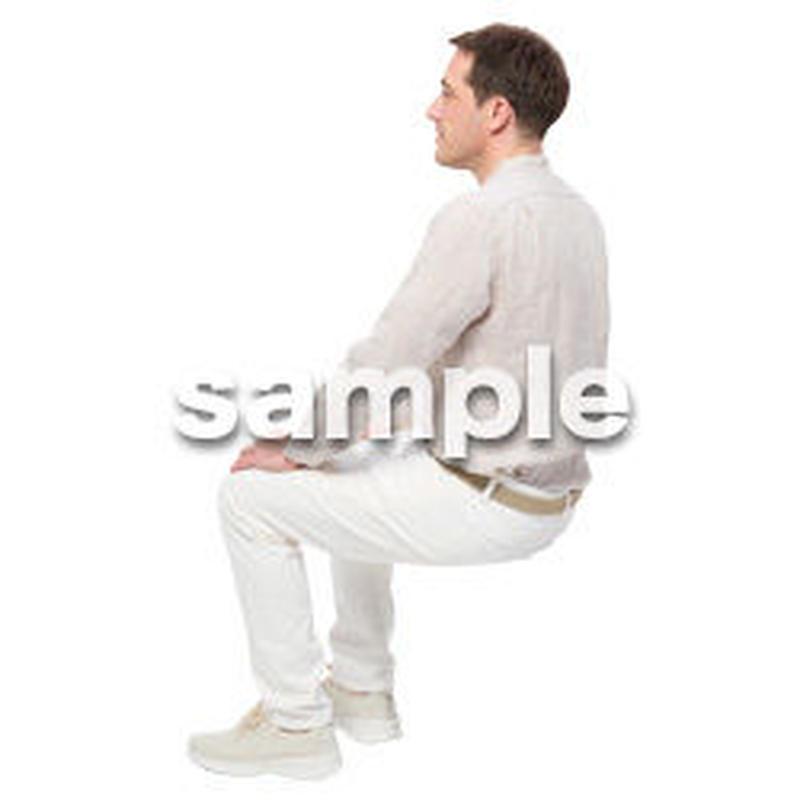 Cutout People 座る 外国人男性 LL_594