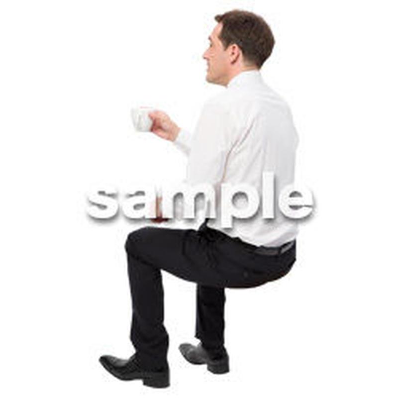 Cutout People 座る 外国人男性 LL_569