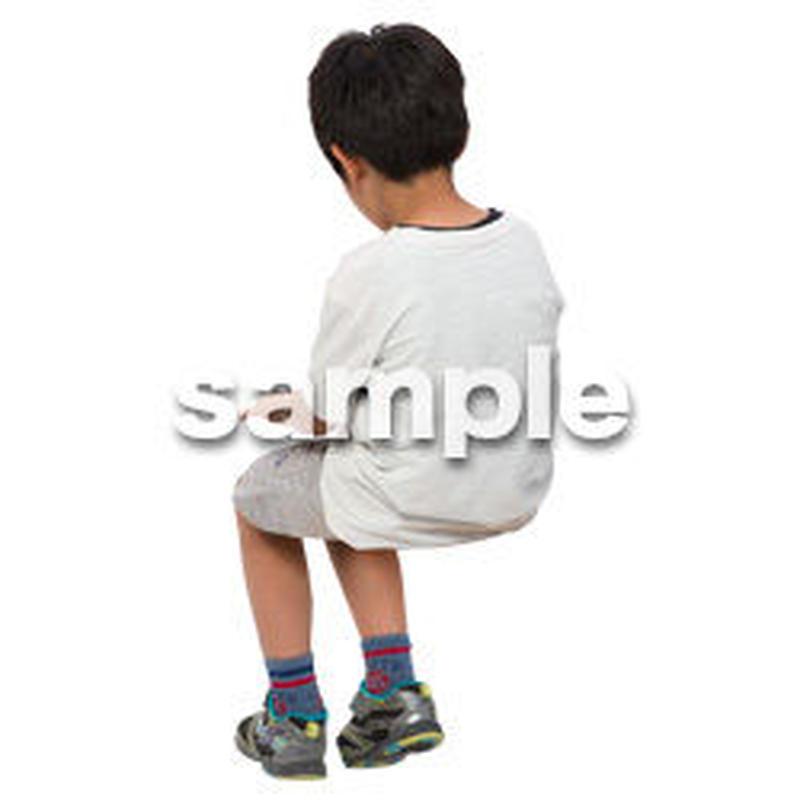 Cutout People 座る 男の子 LL_549