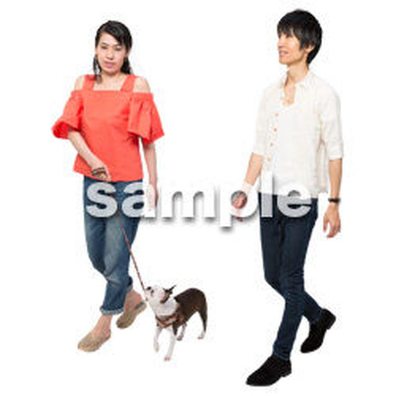 Cutout People 犬の散歩 II_472