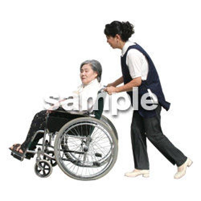 人物切抜き素材 医療・シニア車椅子編 D_286