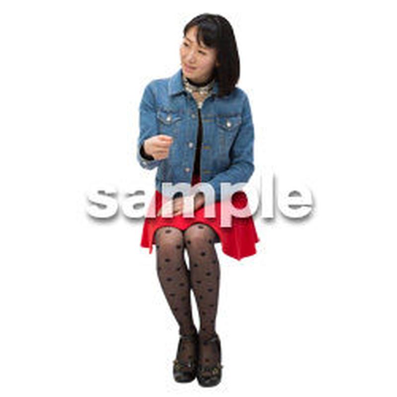Cutout People 日本人-女性-座る BB_496