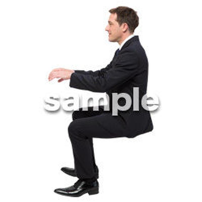 Cutout People 座る 外国人男性 LL_553