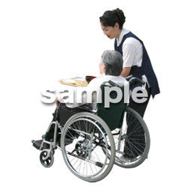 人物切抜き素材 医療・シニア車椅子編 D_295