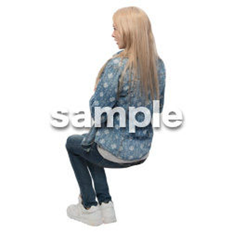 Cutout People 座る 外国人 KK_594