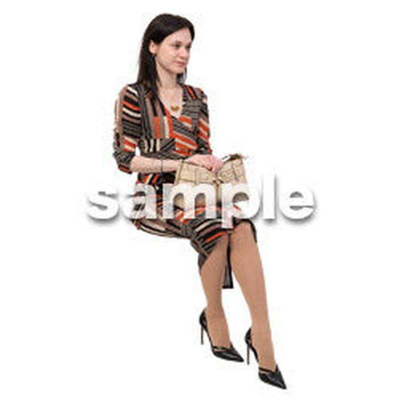 Cutout People 座る 外国人 KK_582