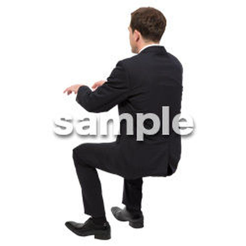 Cutout People 座る 外国人男性 LL_554