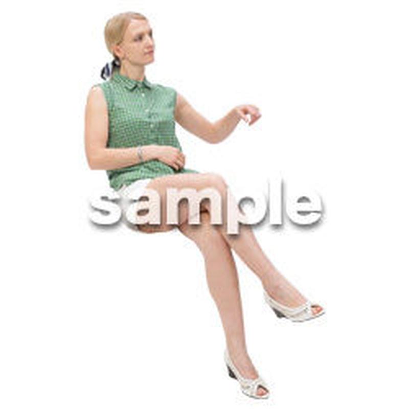 Cutout People 外国人-女性-座る BB_482