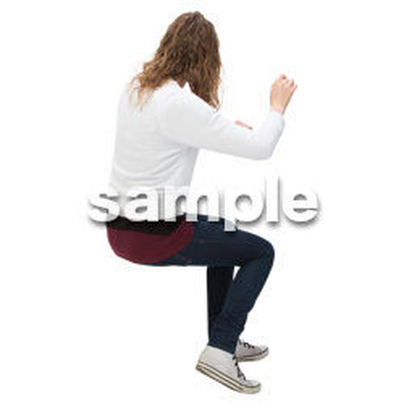 Cutout People 外国人-女性-座る BB_479