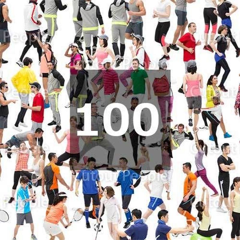 100個セット★人物切抜き素材-スポーツ 1k015