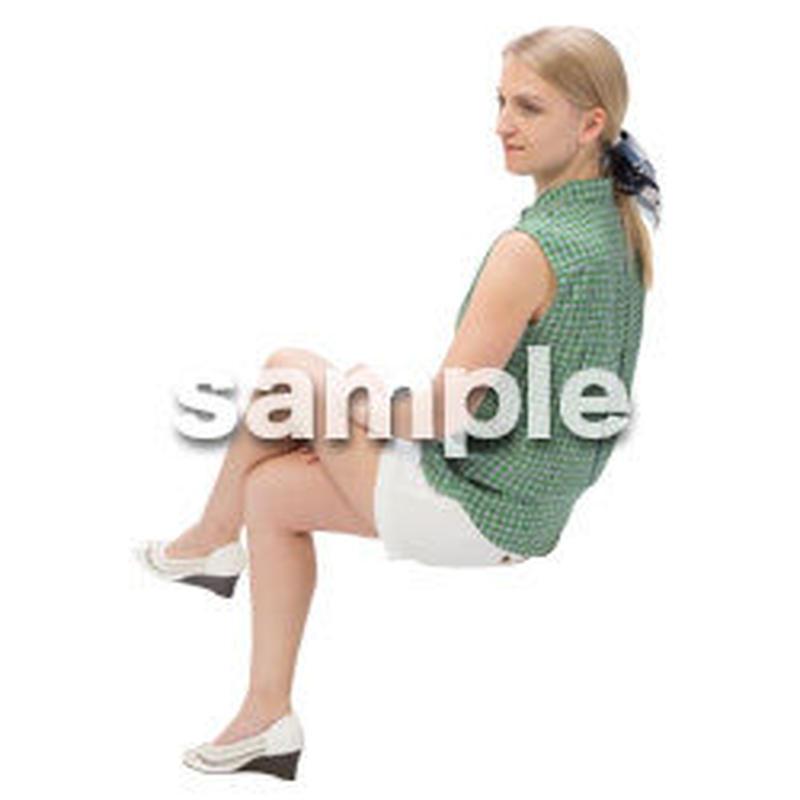 Cutout People 外国人-女性-座る BB_484