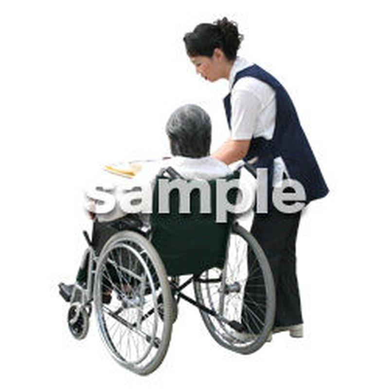 人物切抜き素材 医療・シニア車椅子編 D_296