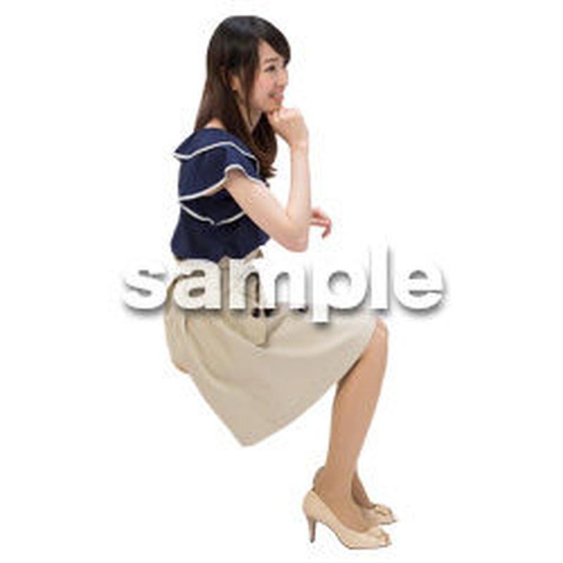 Cutout People 日本人-女性-座る BB_493