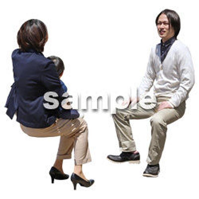 人物切抜き素材 ショッピングモール編 座る T_474