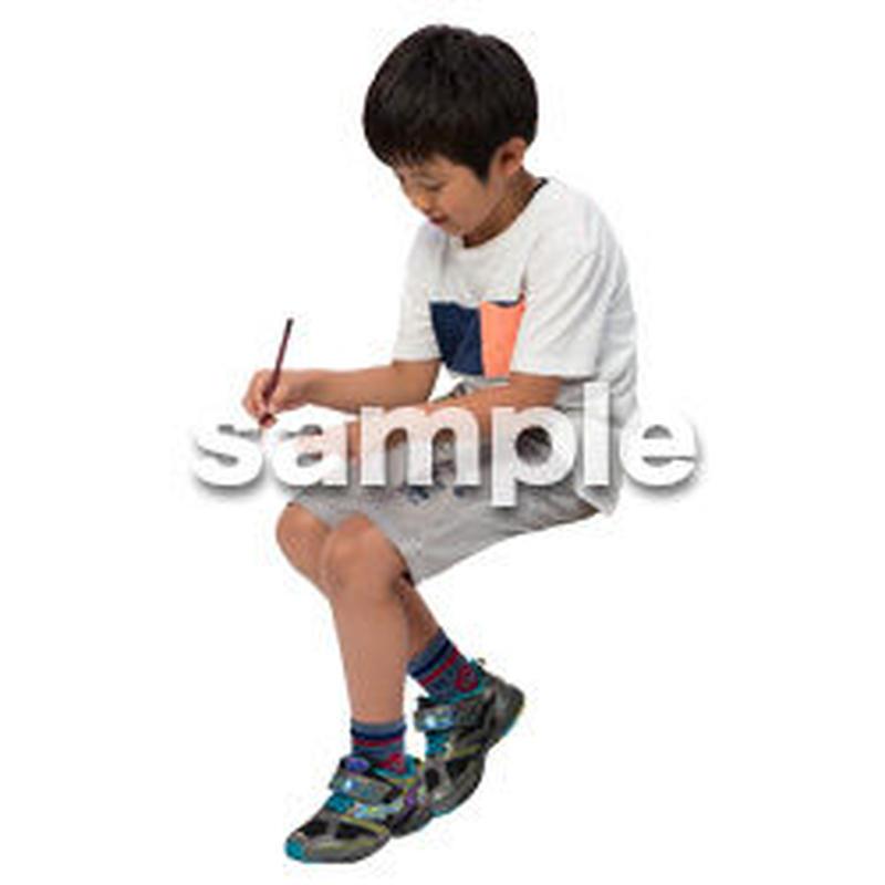 Cutout People 座る 男の子 LL_547