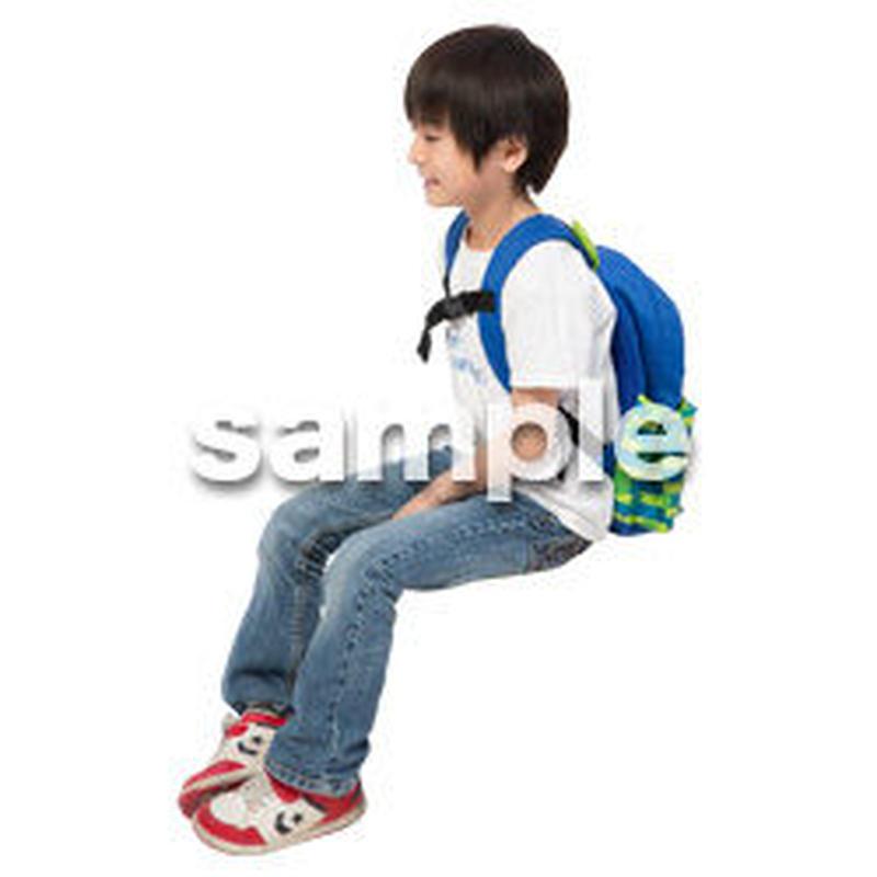 Cutout People 座る 男の子 LL_528