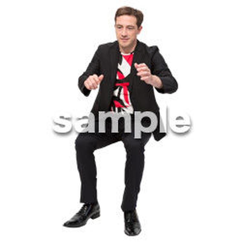 Cutout People 座る 外国人男性 LL_571