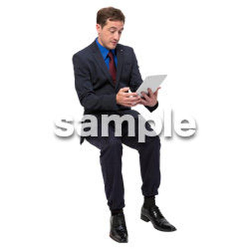 Cutout People 座る 外国人男性 LL_557