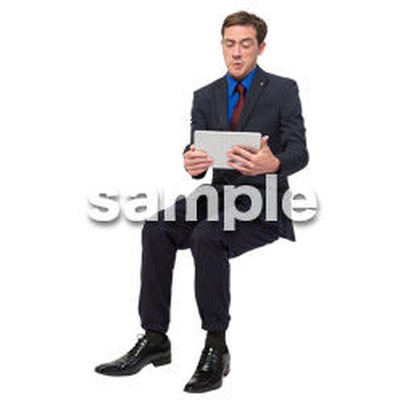Cutout People 座る 外国人男性 LL_556