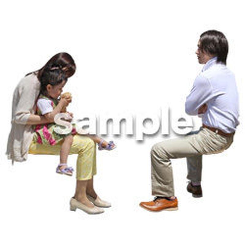 人物切抜き素材 ショッピングモール編 座る T_479