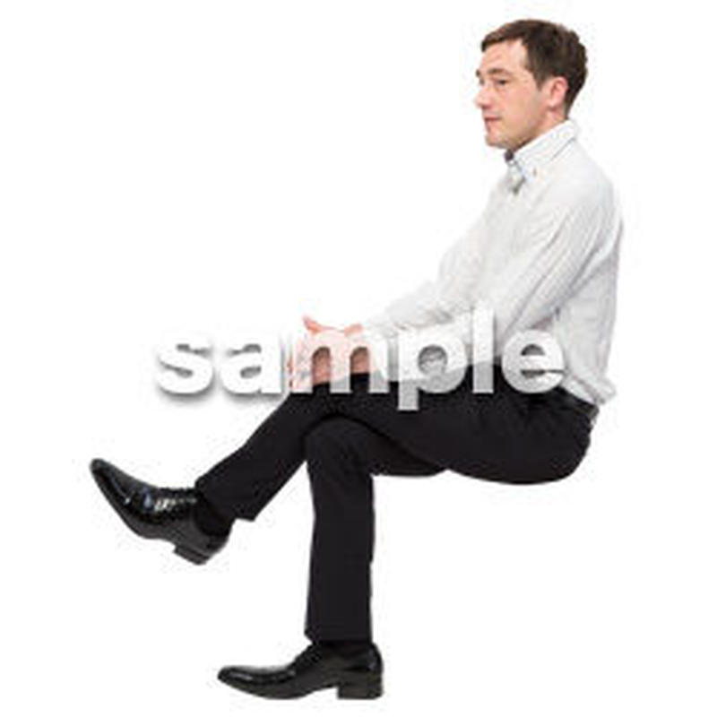 Cutout People 座る 外国人男性 LL_583