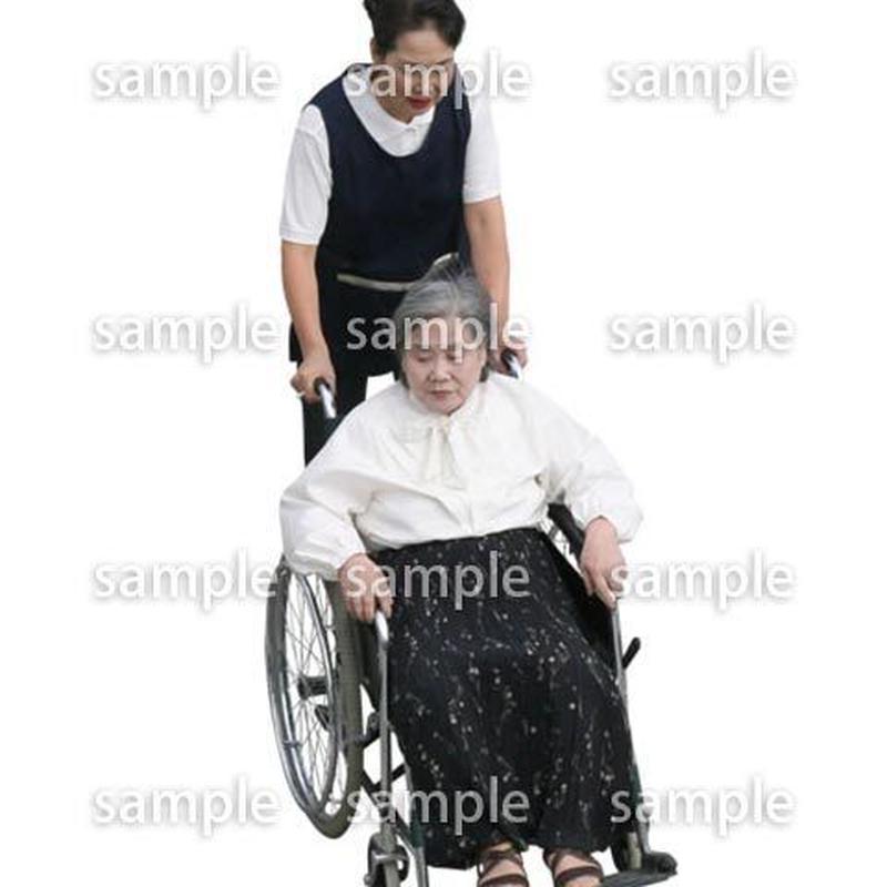 人物切抜き素材 医療・シニア車椅子編 D_288