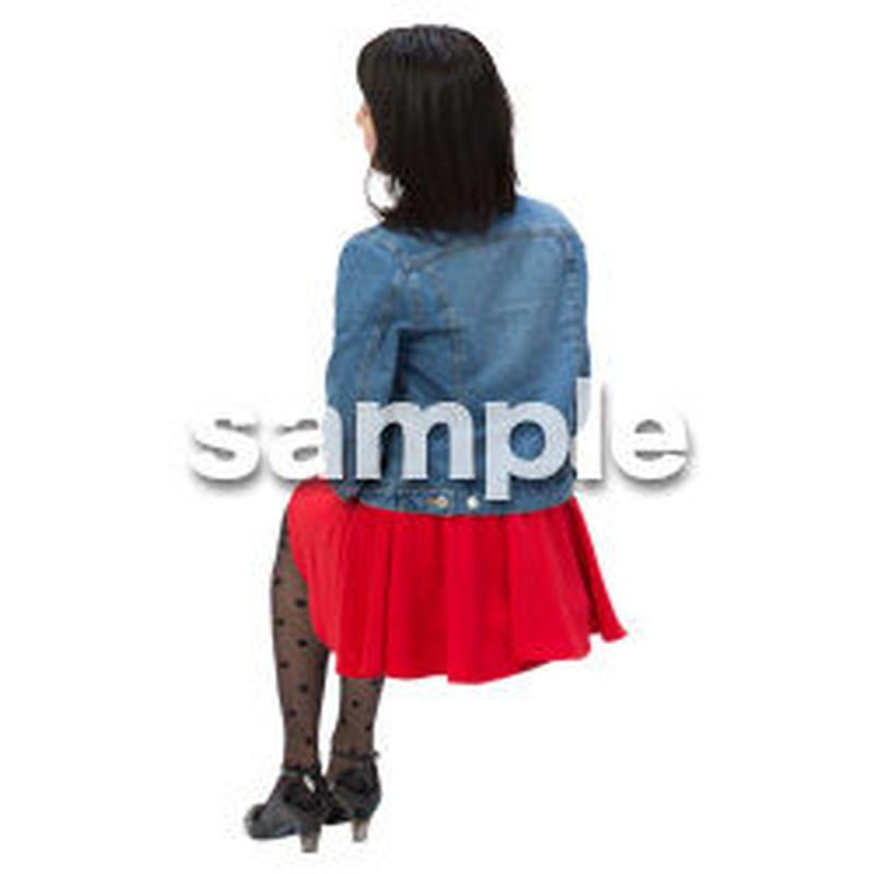 Cutout People 日本人-女性-座る BB_499