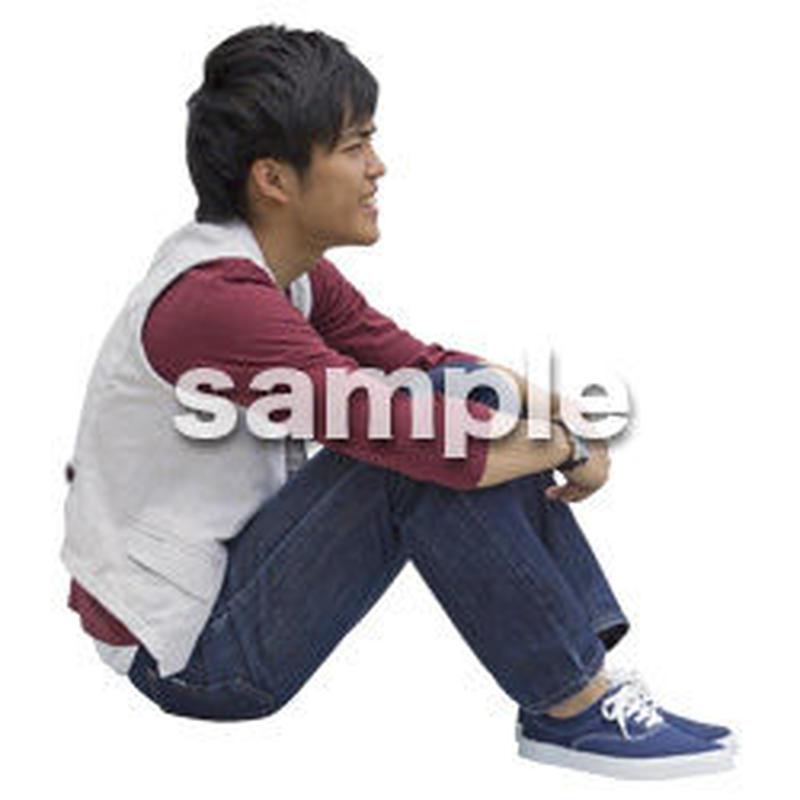 人物切抜き素材 座る人Ⅱ編 Q_595