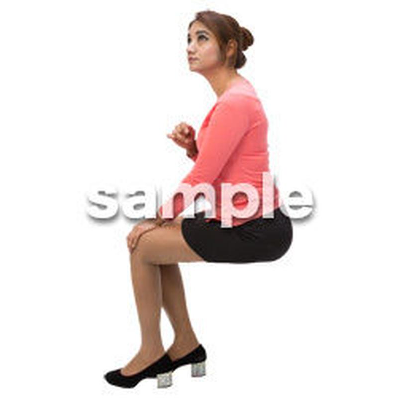 Cutout People 外国人-女性-座る BB_473