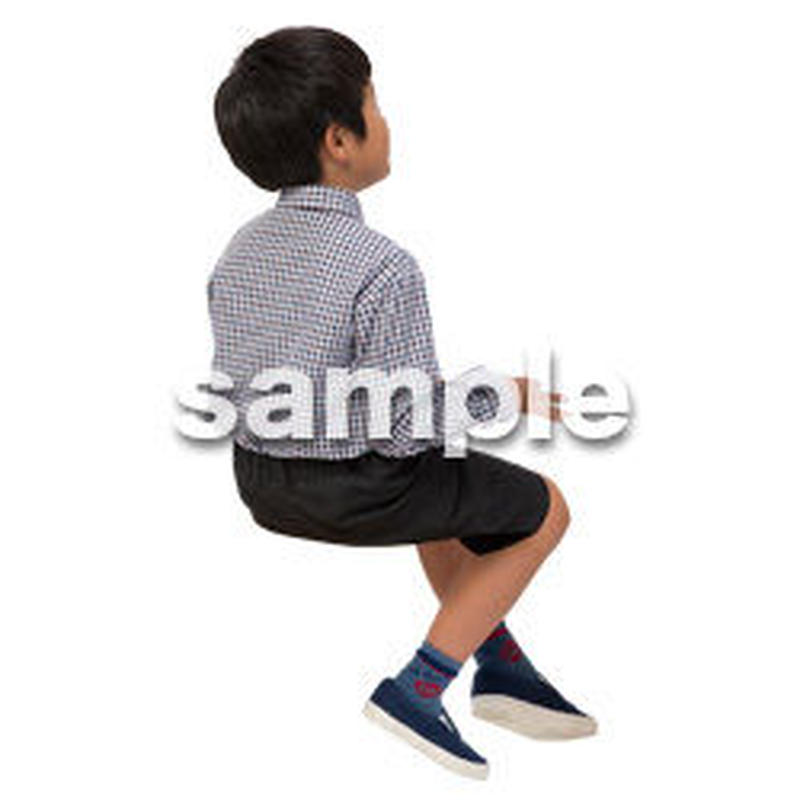 Cutout People 座る 男の子 LL_539