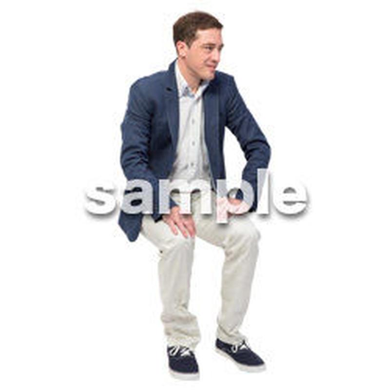 Cutout People 座る 外国人男性 LL_577
