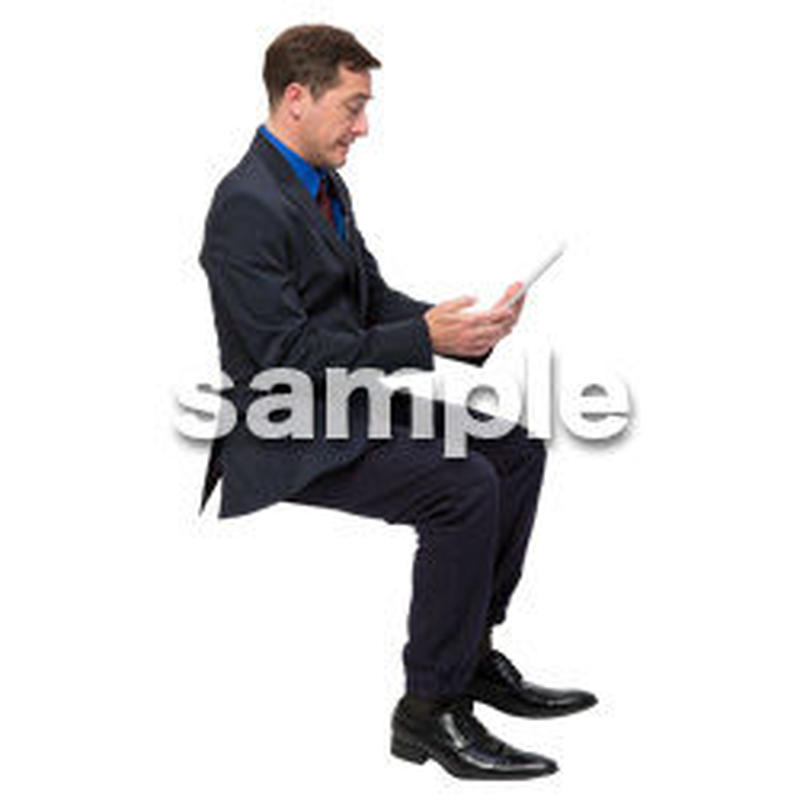 Cutout People 座る 外国人男性 LL_558