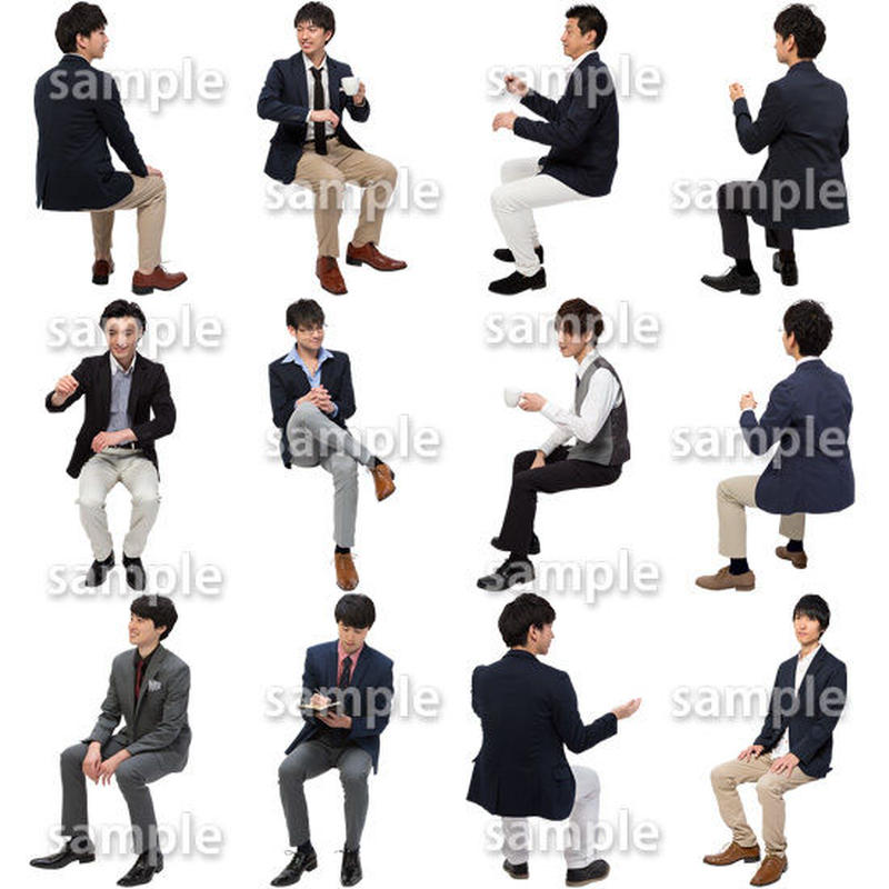 人物切抜きセット☆座る男性 1_set175