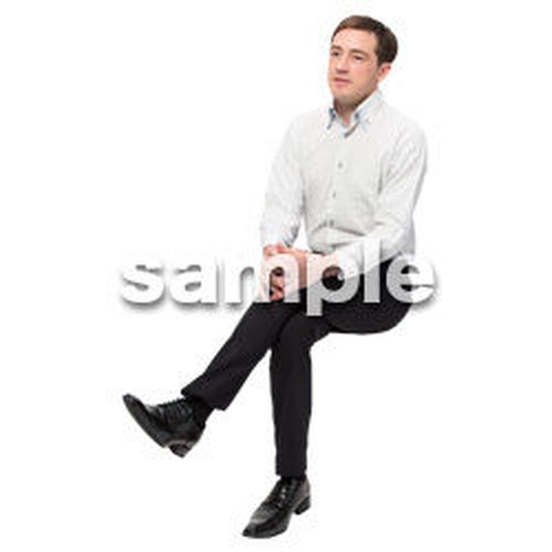 Cutout People 座る 外国人男性 LL_582