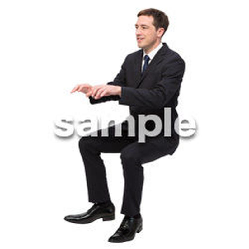 Cutout People 座る 外国人男性 LL_552