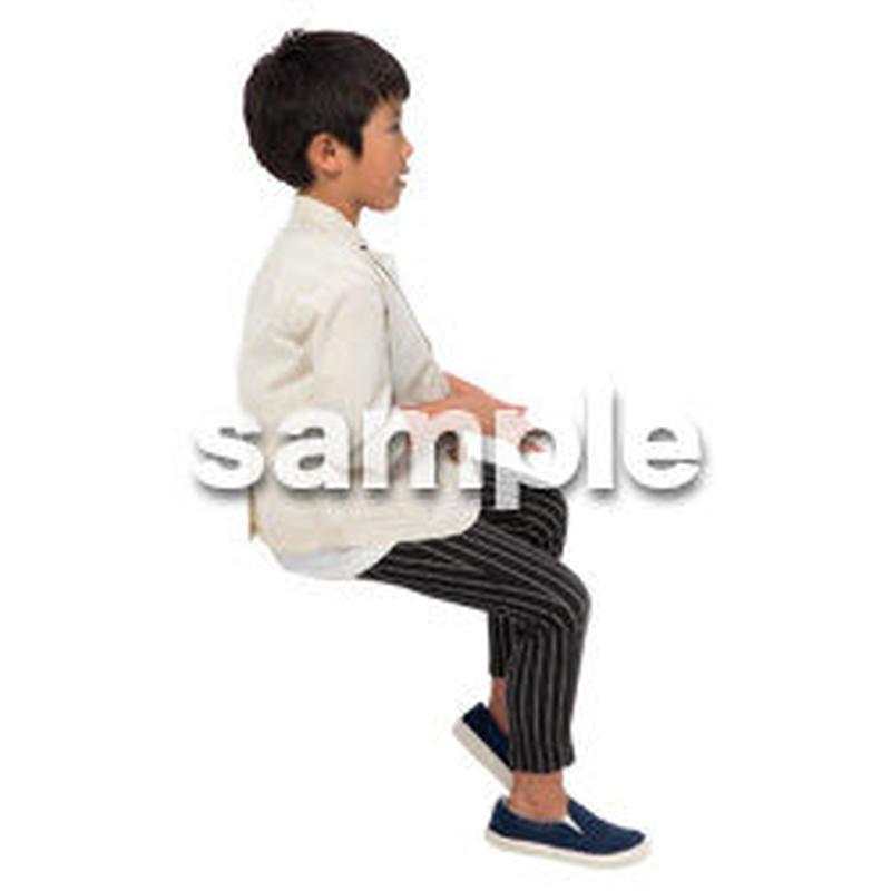 Cutout People 座る 男の子 LL_543