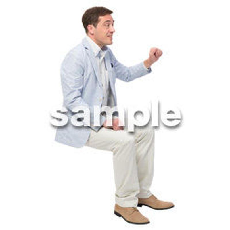 Cutout People 座る 外国人男性 LL_587