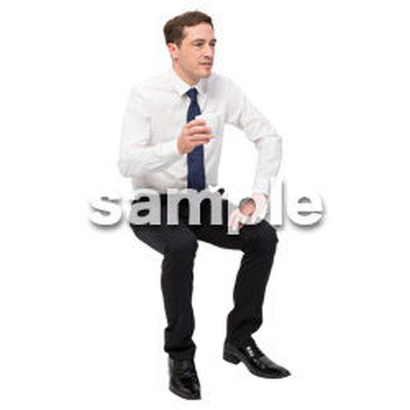 Cutout People 座る 外国人男性 LL_567